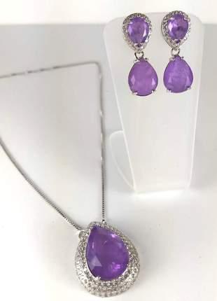 Conjunto semijoia gazin colar e brincos ródio branco pedraria fusion lilás