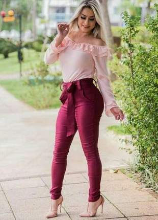 Calça em bengaline feminina com laço cintura alta
