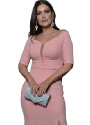 Vestido de festa casamento longo rosa 15 anos civil noiva madrinha manguinha senhora
