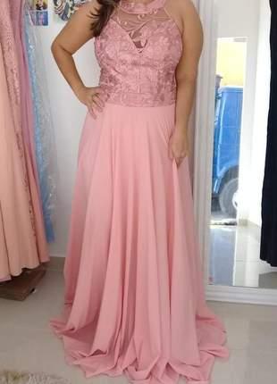 Vestido de festa luxo rosa bordado madrinha formanda