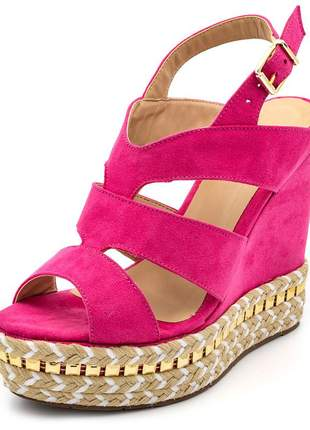 Sandália anabela salto plataforma rosa pink detalhes no salto corda