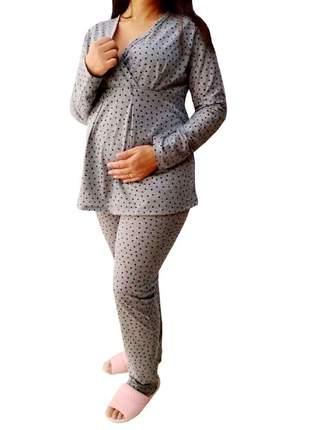 Pijama longo gestante maternidade corações 7882 - linda gestante