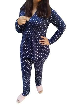 Pijama gestante inverno amamentação pós-parto estrelas 7883