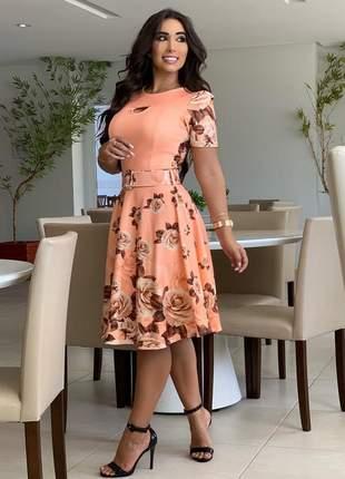 Vestido midi floral com cinto