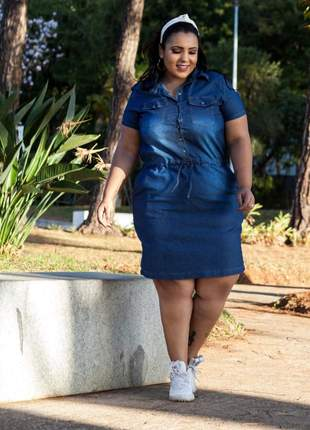 Vestido jeans com lycra plus feminino estilo mid com bolso