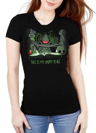 Camiseta feminina gatinho preto feiticeiro