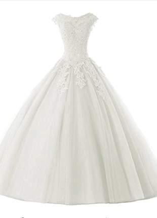 Vestido de casamento noiva carol debutante no estilo princesa