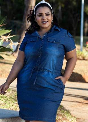 Vestido jeans plus size manga curta feminino