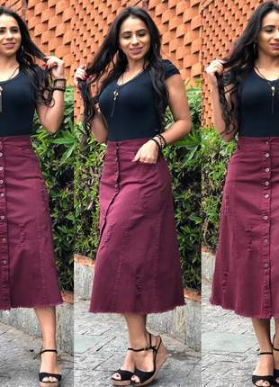 Saia sarja midi feminina bolsos e botão vinho