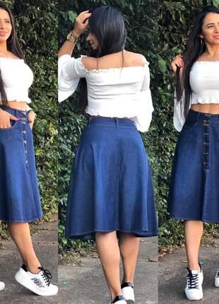 Saia jeans midi feminina bolso e botão