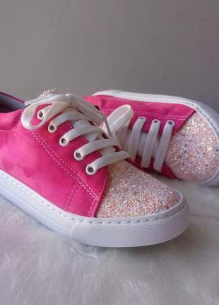 Tênis feminino rosa pink glitter