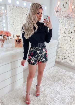 Conjunto feminino blusa laço e shorts estampado + brinde