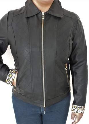 Jaqueta de couro ecológico feminina plus size promoção