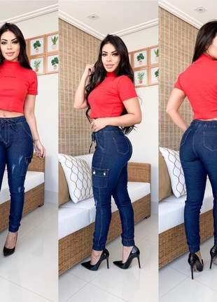 Calça jeans feminina jogger cargo com lycra
