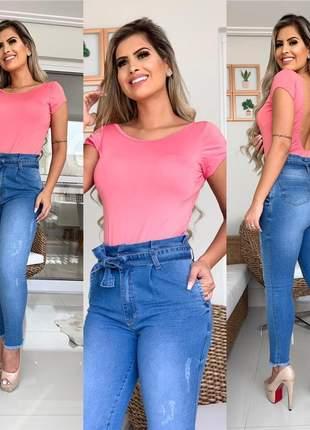 Calça jeans clochard moda feminina laço cós alto