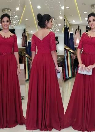 Lindo vestido de manguinha festa marsala longo madrinha formanda