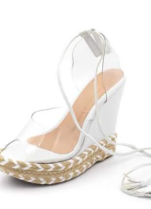 Sandália espadrille anabela em napa branca com transparência