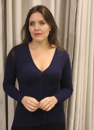 Blusa feminina de tricot azul marinho