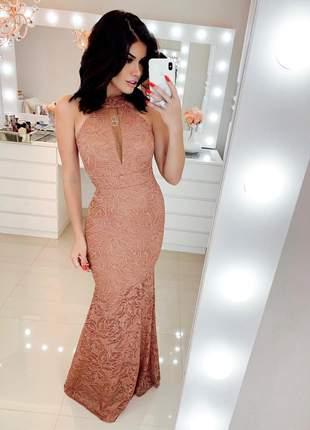 Vestido longo rose festa renda