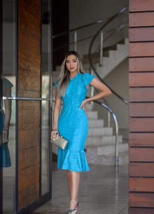 Vestido midi azul tifany