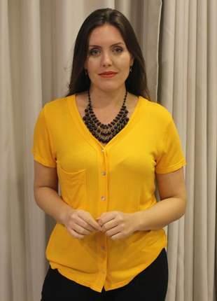 Blusa feminina malha de linho decote v