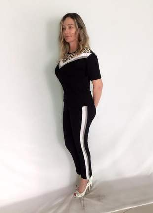 Conjunto feminino calça e blusa animal print moletinho em viscose, elastano e poliéster.