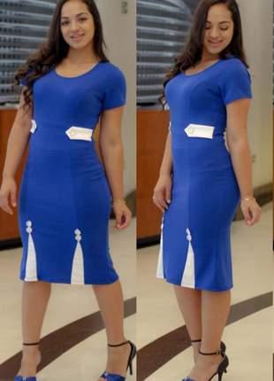Vestido social evangélico azul lindo