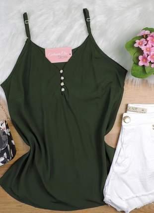 Regata com botão verde musgo bs211