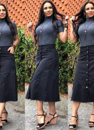 Saia jeans feminina coloridas com botões detalhes