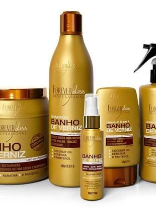 Hidratação para cabelo danificado emborrachado restauração total foreverliss banho verniz