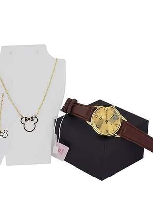 Kit relógio + colar + tornozeleira da minnie - dourado/marrom