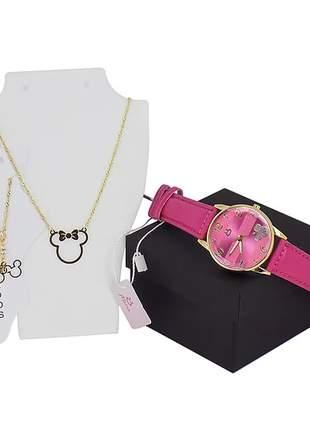 Kit relógio + colar + tornozeleira da minnie