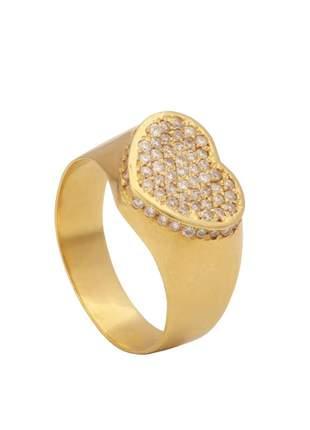 Anel de coração em ouro amarelo com diamantes (14)
