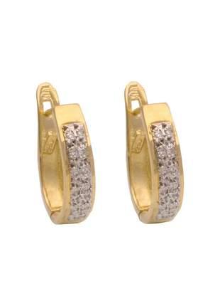 Brinco de argola em ouro 18k 750 com 24 diamantes e rodio branco