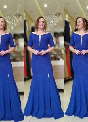 Vestido de festa azul royal manguinha decote madrinha
