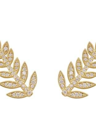 Brinco de earcuff folha em ouro 18k e 74 diamantes