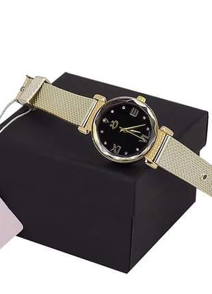 Relógio feminino pulseira silicone - luxo