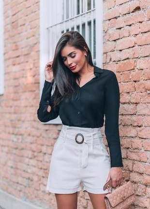 Camisa manga longa feminina em viscose social  com botões e gola