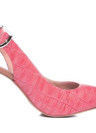 Sapato scarpin croco rosa