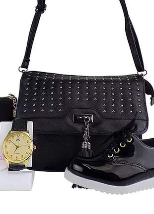 Kit sapatênis oxford + bolsa + carteira + relógio - luxo