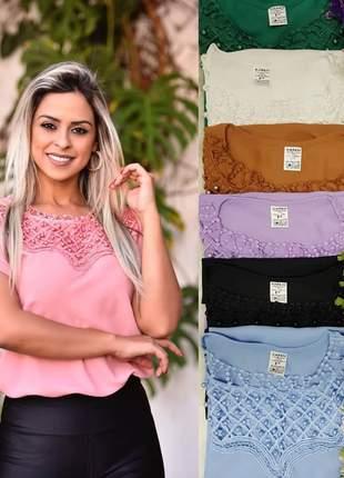 Blusa feminina em crepe com detalhes em pérolas moda evangélica secretaria social