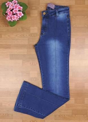 Calça flare jeans detalhe riscas cl04
