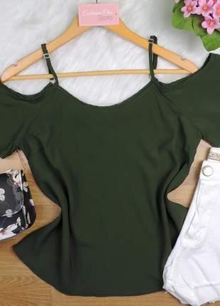 Blusa ombro a ombro verde musgo bs224