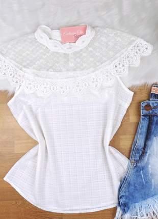 Blusa renda detalhe tule branca bs053
