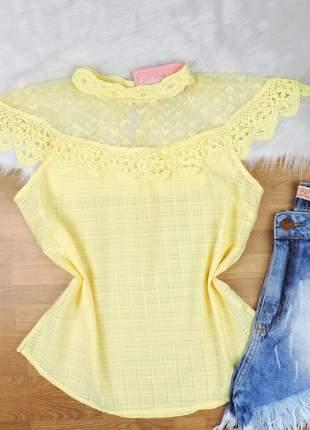 Blusa renda detalhe tule amarela bs056