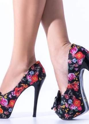 Sapato feminino salto alto meia pata