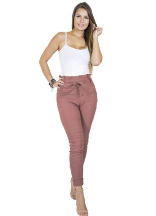 Calça dress code moda clochard rosa