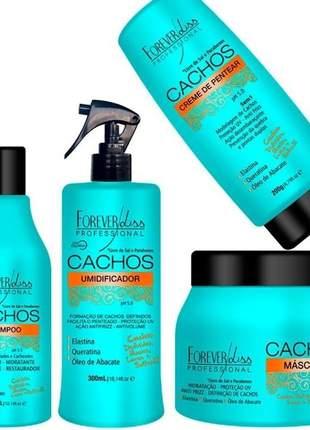 Hidratação para cabelos cacheados completa modelagem anti volume cachos definidos