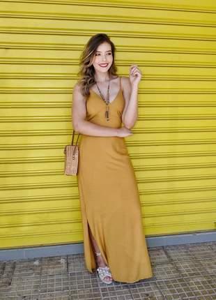 Vestido longo amarelo mostarda com fenda lançamento verão 2020