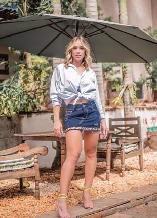 Mini saia jeans oncinha